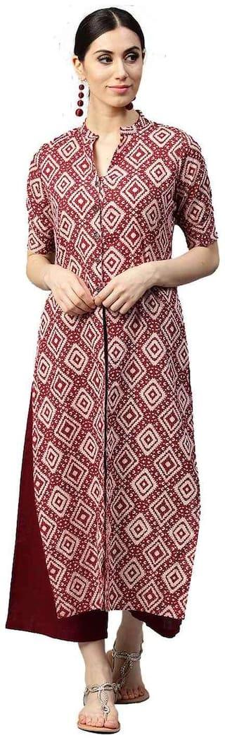 Jaipur Kurti Women Cotton Printed Angrakha Kurta - Maroon