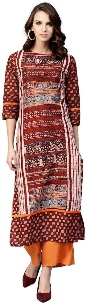 Jaipur Kurti Women Cotton Abstract A line Kurta - Red