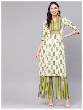 Jaipur Kurti  Women Cotton Floral Kurta With Palazzo - Green