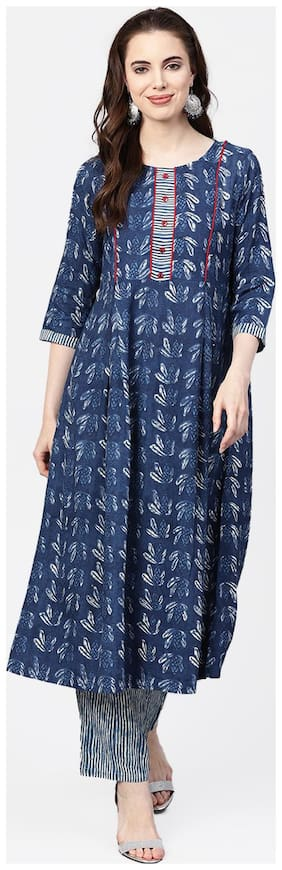 Jaipur Kurti Rayon 3/4th Sleeves Stitched Suits Blue