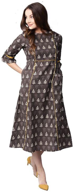 Jaipur Kurti Women Brown Printed Empire Cotton Kantha Kurti Dress