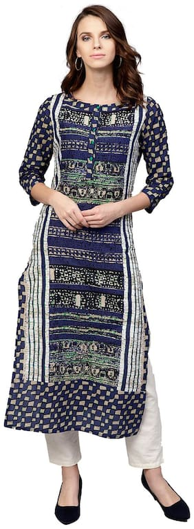Jaipur Kurti Women Cotton Printed Layered Kurta - Blue