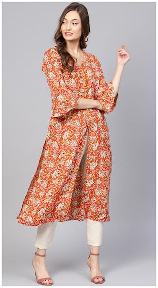 Jaipur Kurti Women Orange Floral Straight Kurta