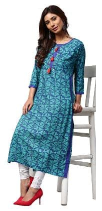 Jaipur Kurti Women Blue Geometric Embroidered Straight Rayon Kurta
