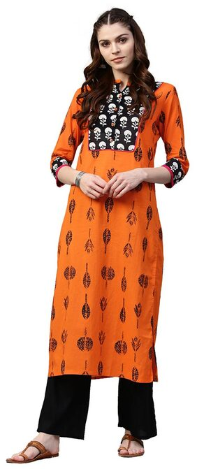 Jaipur Kurti Women Orange & Black Floral Straight Cotton Kurta With Palazzo
