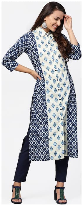 Jaipur Kurti Cotton 3/4th Sleeves Stitched Suits Multi
