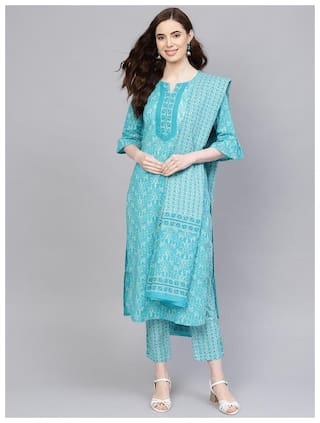 Jaipur Kurti Women Turquoise Floral Straight Kurta With Palazzo And Dupatta