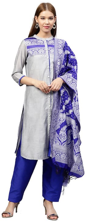 Jaipur Kurti Women Grey Solid Straight Kurta With Salwar And Dupatta