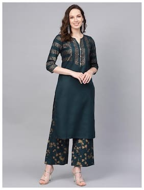 Jaipur Kurti Women Blue Printed Straight Kurta With Palazzo