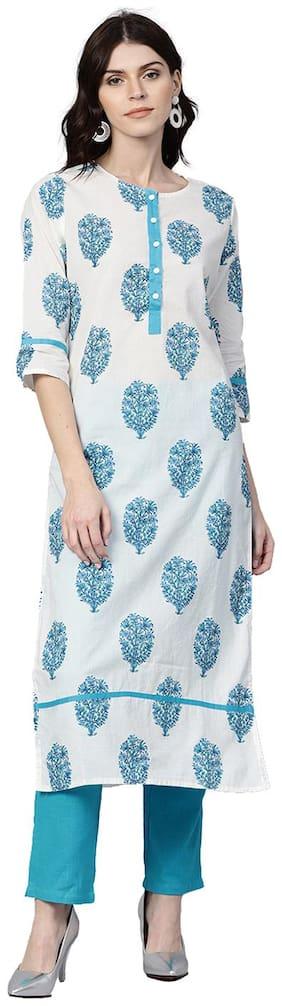 Jaipur Kurti Women White & Turquoise Ethnic Motifs Straight Cotton Kurta With Pants