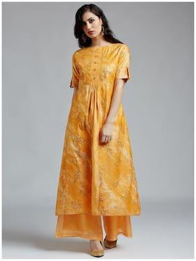Jaipur Kurti Women'S Orange Chanderi Kurta With Light Orange Chanderi Palazzo