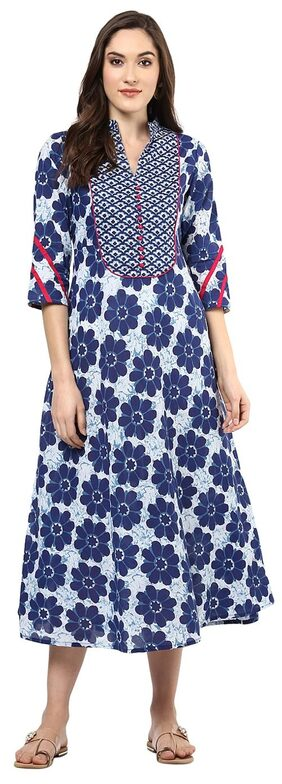 Jaipur Kurti Women Cotton Floral Straight Kurti Dress - Blue