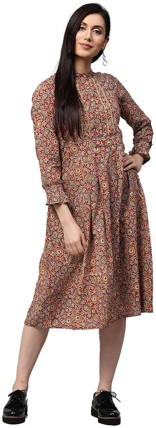 Jaipur Kurti Women Cotton Printed Straight Kurti dress - Maroon