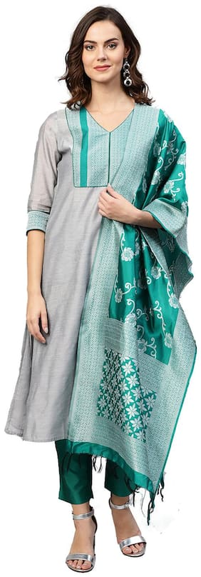 Jaipur Kurti Women Grey & Green Solid Straight Chanderi Kurta with Pant & Dupatta