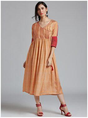 Jaipur Kurti Women's Orange Muslin Geometric Print Kurti Dress