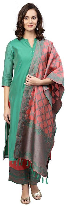 Jaipur Kurti Women Turquoise Solid Straight Kurta With Pants And Dupatta