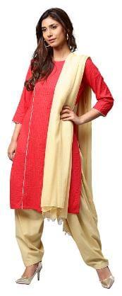 Jaipur Kurti Women Red Solid Straight Cotton Kurta With Cream Patiala Dupatta
