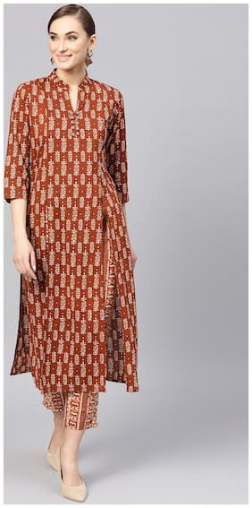 Jaipur Kurti Women Maroon Ethnic Motifs Straight Cotton Kurta with Pant