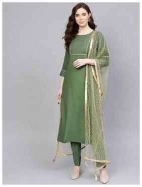 Jaipur Kurti Women Viscose Straight Suit Set -Green