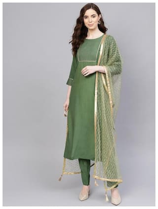 Jaipur Kurti Women Green Solid Straight Kurti With Palazzo And Dupatta