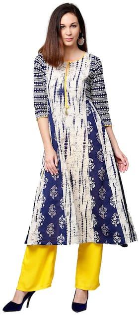 Jaipur Kurti Women Indigo & Yellow Shibori Straight Cotton Kurta With Palazzo