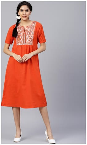 Jaipur Kurti Women Orange Embroidered A-Line Cotton Slub Kurti Dress