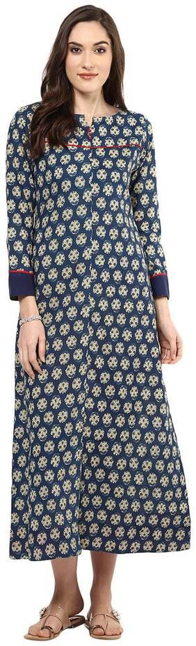 Jaipur Kurti Cotton Blue Block Print Kurta