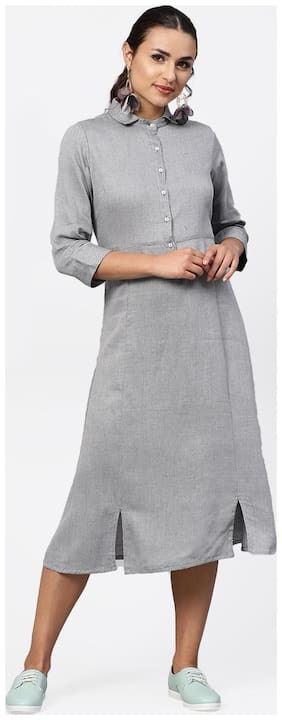 Jaipur Kurti Cotton Self Design A-line Dress Grey