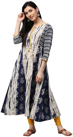 Jaipur Kurti Women Indigo Fusion of Prints Anarkali Cotton Kurta