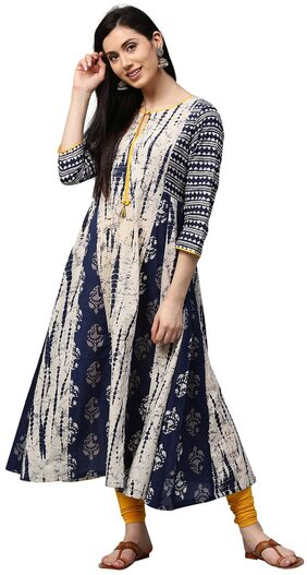 Jaipur Kurti Women Cotton Abstract Straight Kurta - Blue
