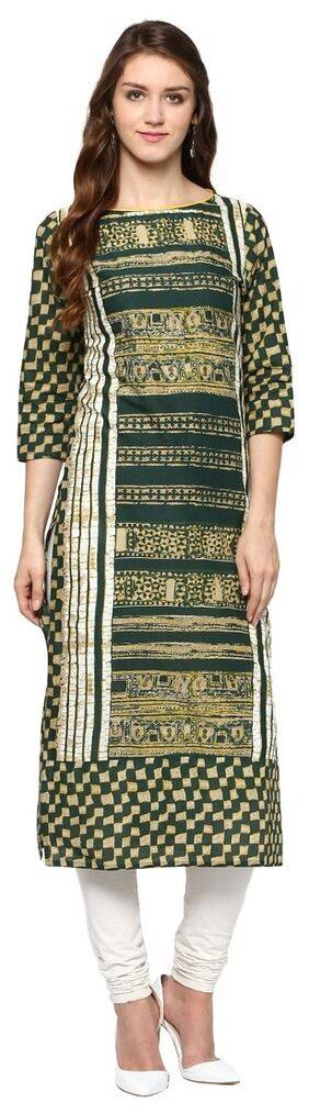 Jaipur Kurti Women Cotton Printed Straight Kurta - Green