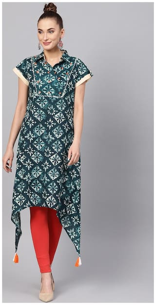Jaipur kurti Cotton Medium Floral Kurta Multi color