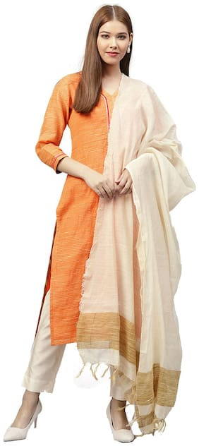 Jaipur Kurti Women Orange & Off White Stripes A-Line Silk Kurta with Pant & Dupatta