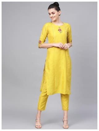 Jaipur Kurti Cotton Kurta With Pants Yellow