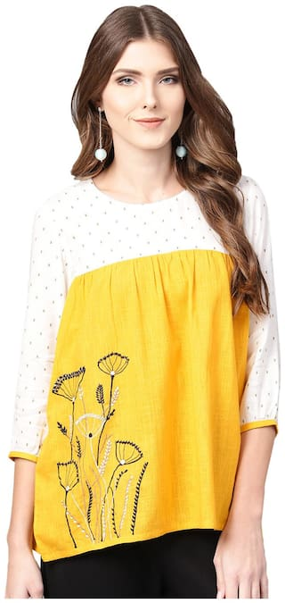 Jaipur Kurti Women Rayon Geometric - A-line Top Yellow