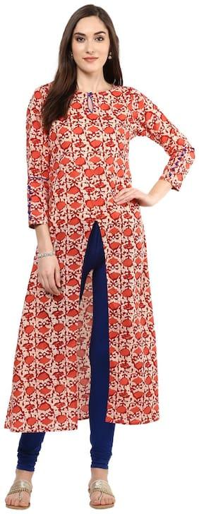 Jaipur Kurti Women Cotton Straight Kurta - Pink