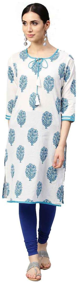 Jaipur Kurti Women White Printed Straight Kurta