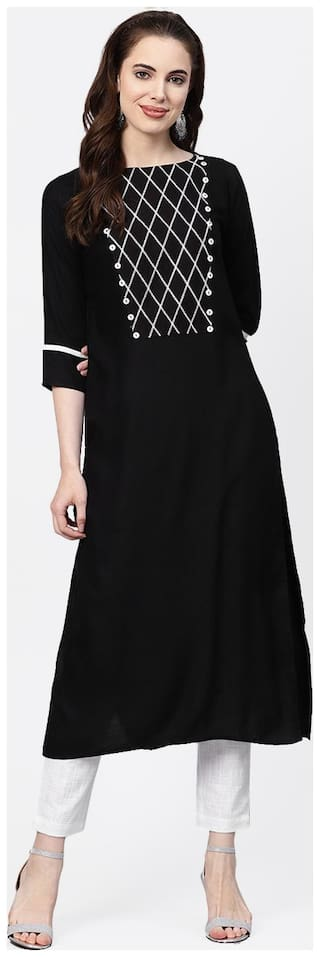 Jaipur Kurti Rayon 3/4th Sleeves Stitched Suits Black;White