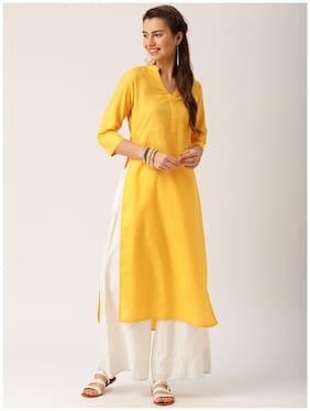 Jaipur Kurti Women Yellow Solid Straight Kurta