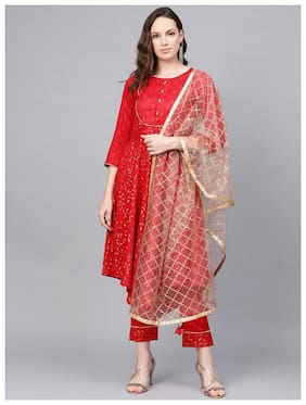 Jaipur Kurti Silk Suit Set Red