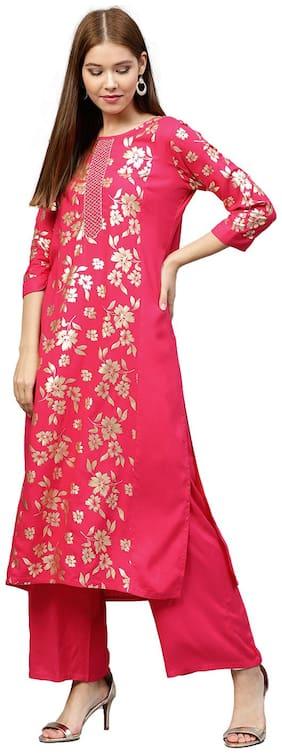 Jaipur Kurti Women Pink Ethnic Motifs Straight Rayon Kurta with Palazzo