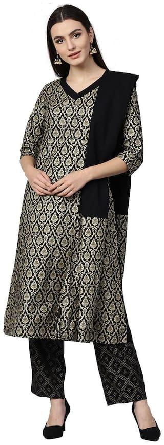Jaipur Kurti Women Black Ethnic Motifs A-Line Cotton Kurta With Palazzo Dupatta