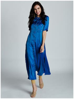 Jaipur Kurti Women's Royal Blue Barfi Silk Kurta
