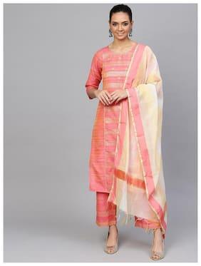 Jaipur Kurti  Women Cotton Striped Suit Set - Pink