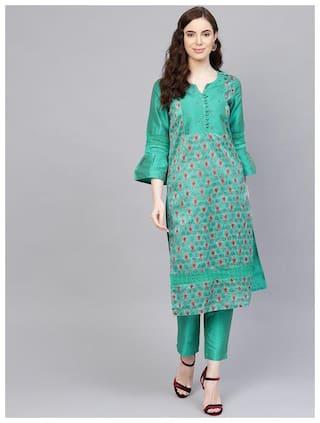 Jaipur Kurti Women Green Ethnic Motifs Straight Kurta With Pants