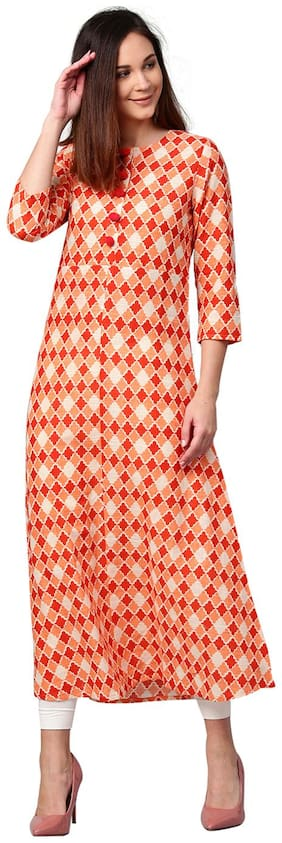 Jaipur Kurti Women Orange Geometric A-Line Cotton Slub Kurta