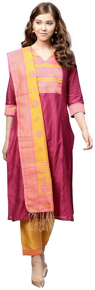 Jaipur Kurti Women Maroon Solid Straight Kurta With Pants And Dupatta