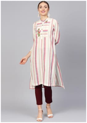 Women Striped Straight Kurti