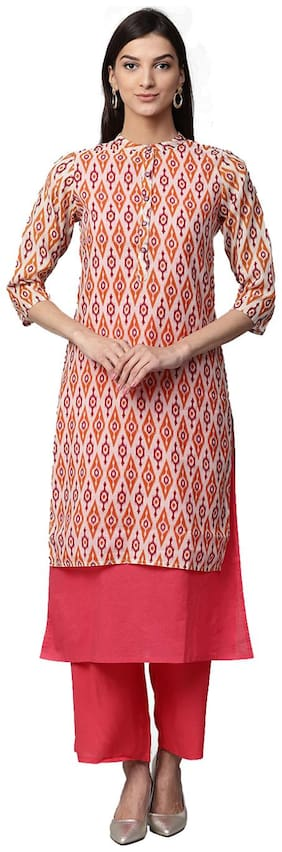 Jaipur Kurti Women Pink Ikat Print Layered Chanderi & Cotton Kurta with Palazzos