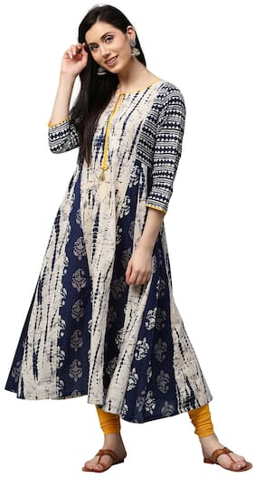 Jaipur Kurti Women Cotton Abstract Straight Kurta - Blue